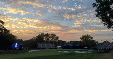 Sunset over the 18th hole after day one of the PGA Championship at Bellerive