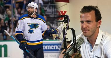 St. Louis Blues forward Pat Maroon and broadcaster Joey Vitale.