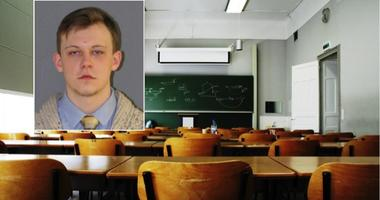 "Mug shot of 23-year-old teacher accused of running a ""fight club"" in his classroom."