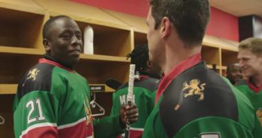 NHL forward Sidney Crosby meets members of the Kenya hockey team.