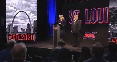 Kitty Ratcliffe, president of Explore St. Louis speaks at the XFL announcement.