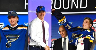 Dominik Bokk, Klim Kostin and Robert Thomas, St. Louis Blues draft picks.