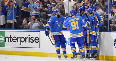 St. Louis Blues defenseman Colton Parayko (55) is congratulated by teammates after scoring.