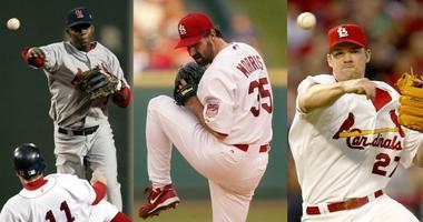 Former St. Louis Cardinals players Edgar Renteria, Matt Morris and Scott Rolen.