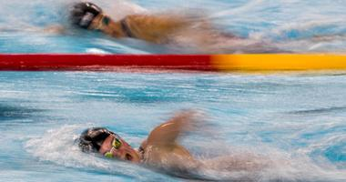 Swimmers in action during the Swimming Women's 800m Freestyle