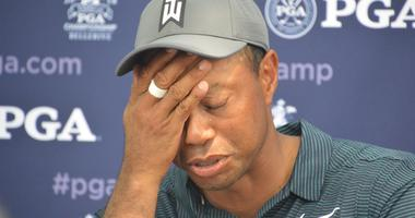 Tiger Woods after 1st round at 2018 PGA Championship.