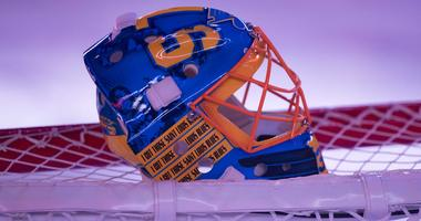 St. Louis Blues goalie mask.
