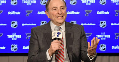 NHL commissioner Gary Bettman talks with the media prior to a St. Louis Blues game.
