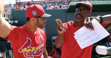 St. Louis Cardinals left fielder Tommy Pham (28) listens to St. Louis Cardinals assistant coach Willie McGee