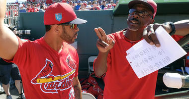 St. Louis Cardinals coach Willie McGee with center fielder Tommy Pham