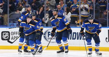 St. Louis Blues right wing Vladimir Tarasenko (91) skates towards the bench after scoring
