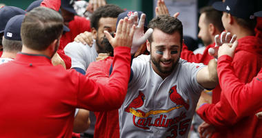 St. Louis Cardinals second baseman Greg Garcia is congratulated in the dugout after hitting a solo home run