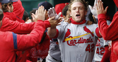 St. Louis Cardinals outfielder Harrison Bader celebrates a home run.