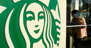 View of the logo as a customer enters Starbucks.