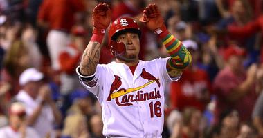 St. Louis Cardinals second baseman Kolten Wong celebrates a hit.