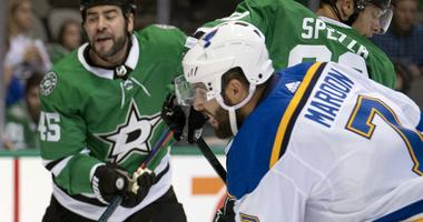 Dallas Stars goalie Ben Bishop (30) makes a save on a shot by St. Louis Blues left wing Patrick Maroon