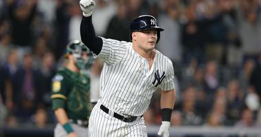 New York Yankees first baseman Luke Voit (45) celebrates