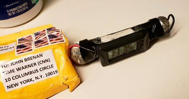 shows a package addressed to former CIA head John Brennan and an explosive device that was sent to CNN's New York office.