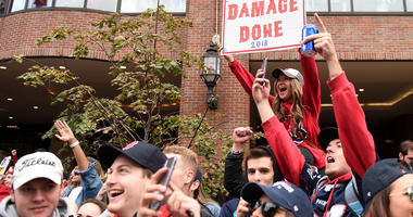 Boston Red Sox fans during championship parade.