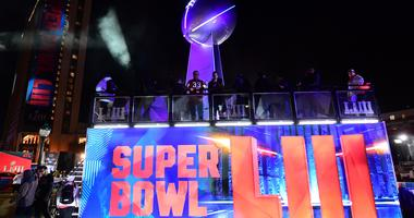 General overall view of replica Vince Lombardi trophy at Super Bowl LIII