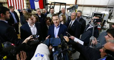"""Feb 6, 2017; Springfield, MO, USA; Missouri Gov. Eric Greitens takes questions from the media after signing legislation to make Missouri the 28th """"right-to-work"""" state"""