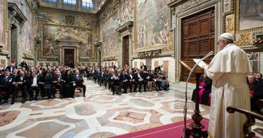 Pope Francis attends an audience with members of the Diplomatic Corps accredited to the Holy See for the traditional exchange of New Year greetings at the Sala Regia at the Vatican
