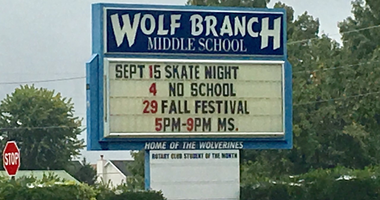 Wolf Branch Middle School in Swansea, Illinois.