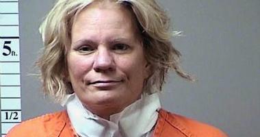 Pamela Hupp's mugshot after alleged suicide attempt with ink pen.