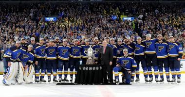 St. Louis Blues with Western Conference cup