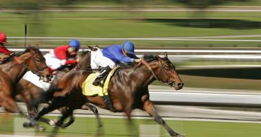 Horse race shot a slow shutter speed to enhance motion effect.