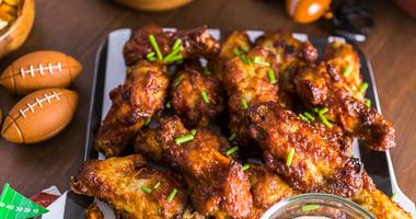 Chicken wings at Super Bowl party
