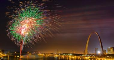 fireworks on Mississippi River in St. Louis near Gateway Arch
