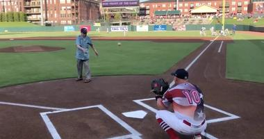 104 year old, WWII veteran, Frank Anderson, just threw out the first pitch at the Memphis Redbirds game.