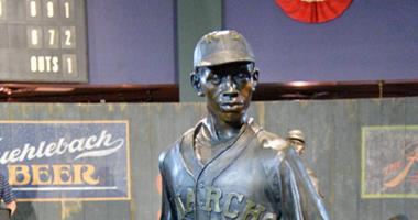 Jun 21, 2017; Kansas City, MO, USA; A detail view of a statue of Satchel Paige on display during a presentation at the Negro Leagues Baseball Museum.