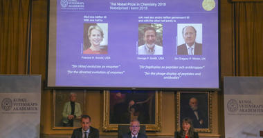 STOCKHOLM, Oct. 3, 2018 (Xinhua) -- Photo taken on Oct. 3, 2018 shows a screen displaying the portraits of awarded scientists Frances H. Arnold of the United States (L), George P. Smith of the United States (C) and Sir Gregory P. Winter of the UK (R) for