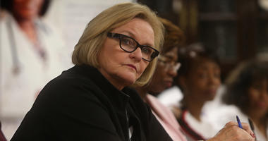 Sen. Claire McCaskill (D-Mo.) listens during a roundtable discussion on healthcare on May 4, 2018, at CareSTL Health in St. Louis.