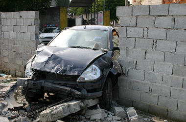 A vehicle hit the wall