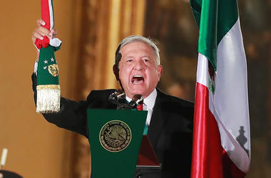 Andres Manuel Lopez Obrador, president of Mexico during the celebrations of Mexico's Independence Day at Zocalo on September 15, 2019 in Mexico City, Mexico. This event also known as 'El Grito' marks the first one of President Lopez Obrador's administrati