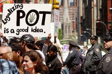 """Hundreds of pro-cannabis demonstrators march May 4, 2002 in New York City. The marchers, who advocate for the legalization of cannabis, were part of almost 200 similar events planned around the world May 4 under the name of the """"Million Marijuana March""""."""
