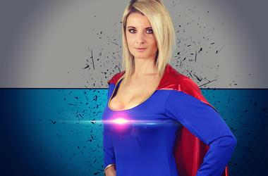 blonde woman dressed as a superhero