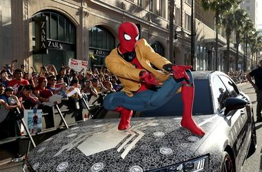 Actor dressed as Spider-Man attends the World Premiere of 'Spider-Man: Homecoming' hosted by Audi at TCL Chinese Theatre on June 28, 2017 in Hollywood, California.