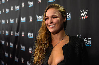 MMA fighter Ronda Rousey appears on the red carpet of the WWE Mae Young Classic on September 12, 2017 in Las Vegas, Nevada