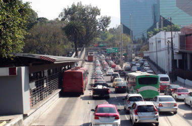 Mexico City Traffic Jam During Rush Hour And Tree Scenery In Mexico