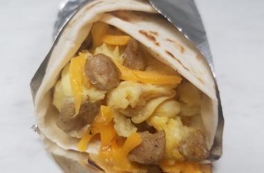 Breakfast taco. Sausage, burrito.