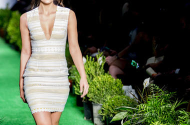Models catwalk in fashion show. Heels, event.