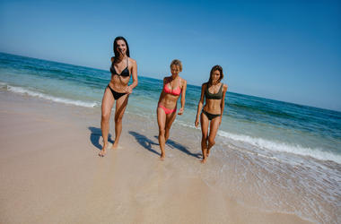 Bikini model catwalk on the beach