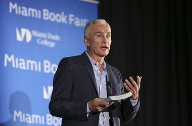 Jorge Ramos speaks on Sunday, Nov. 13, 2016 during the Miami Book Fair at the Miami Dade College Wolfson Campus in downtown Miami, Fla. (Photo by Matias J. Ocner/Miami Herald/TNS)