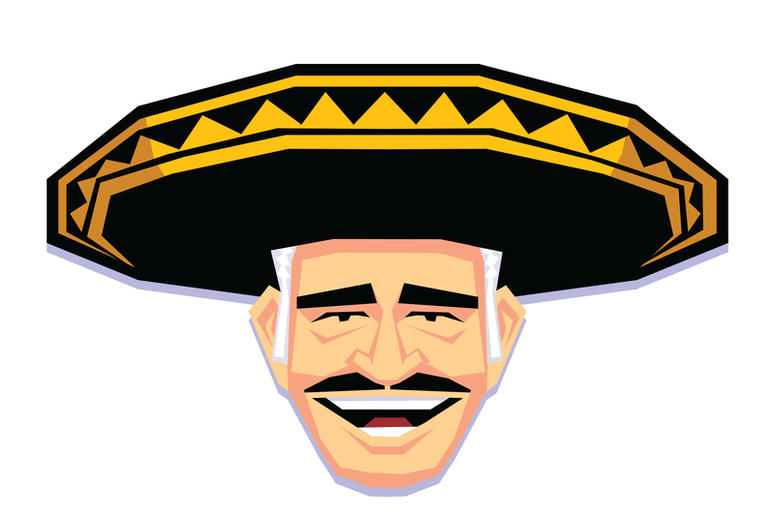 Mariachi Character Isolated On White Background