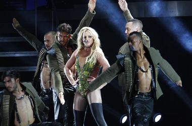 FILE - In this June 13, 2017, file photo, U.S. singer Britney Spears performs during her concert in Taipei, Taiwan.