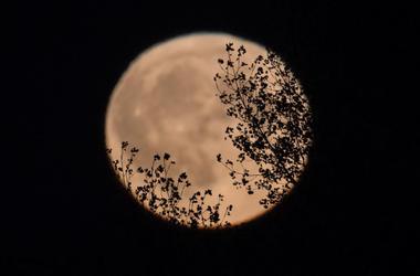 harvest moon above somerset, england